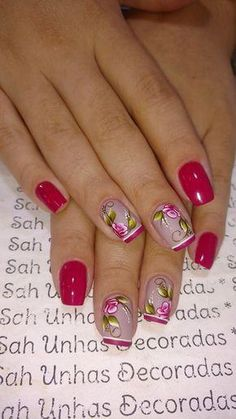 Uñas decoradas: tendencias en manicura para Otoño/Invierno ... #uñasdecoradaspasoapaso Fancy Nails Designs, Fingernail Designs, Pretty Nail Designs, Diy Nail Designs, Acrylic Nail Designs, Acrylic Nails, Spring Nail Art, Spring Nails, Cute Nails
