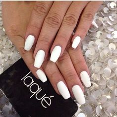 Matte White Nails ❤ liked on Polyvore featuring beauty products, nail care, nail…
