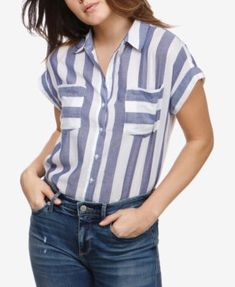 Lucky Brand Cotton Striped Short-Sleeve Shirt - Blue S Kurti Designs Party Wear, Short Sleeve Button Up, Jean Shirts, Striped Shorts, Women's Fashion Dresses, Casual Shirts, Clothes, Lucky Brand, Tops
