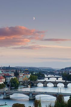Bridges on the River Vlatava, Prague, Czech Republic.    This reminds me of the symphonic poem Moldau. ^_^