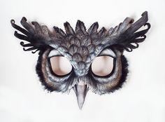 Giant Eagle Owl Leather Mask by LibertiniArts on Etsy Animal Poems, Owl Mask, Giant Eagle, Great Horned Owl, Hand Molding, Leather Mask, Animal Masks, Masks Art, Cosplay
