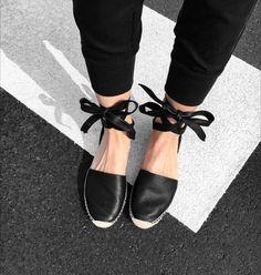 Black leather espadrilles with a bow - Anastassia Krez