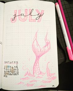 "27 kedvelés, 1 hozzászólás – Rika (@rainydaymermaid) Instagram-hozzászólása: ""Preparing my monthly layout for July in my bullet journal. It's my birthday month, so if course it…"""