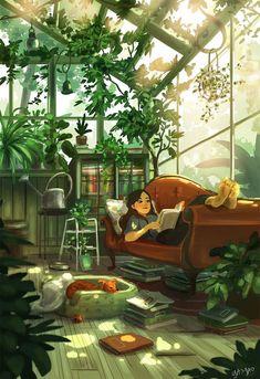 Art And Illustration, Girl Illustrations, Living With Dogs, Art Watercolor, Digital Art Girl, Scenery Wallpaper, Anime Scenery, Anime Art Girl, Aesthetic Art