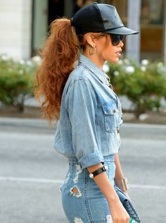 Rihanna in denim on denim with black snapback. #badgirlriri