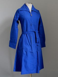 Royal blue popline girl's school uniform made for the Katrantzos stores in Athens. Athens, Greece, 1970s. Courtesy Peloponnesian Folklore Foundation, all rights reserved.