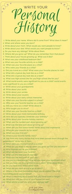 Journal prompts to start writing your own personal history. Great to use for asking parents or grandparents questions too. Creative Writing, Writing Tips, Writing Prompts, Story Prompts, Essay Writing, Writing Journals, Diary Writing, Art Journals, Vie Motivation