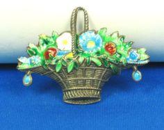 Vintage Sterling Silver and Enamel Flower Basket Pin