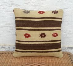 ORGANIC Embroidered Turkish Cream Kilim Pillow by pillowsstore, $42.00