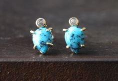 Turquoise + Diamond Stud Earrings