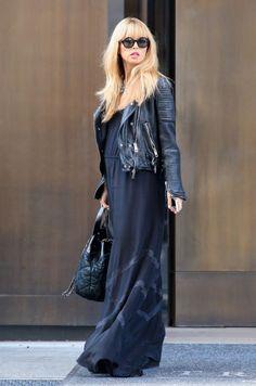 Rachel Zoe's maternity street style, love! Maxi dress and Moro Jacket...I swear by these!!