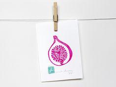"Magenta ""FIG"" Fruit Linocut Art Print 5x7"" Linoprint, linoleum, print, fig, printmaking, stamp, ink Inspiration, Linocut, Art, Lino Print, Prints"