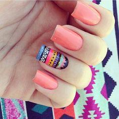 #nails #tribal #design #coral #spring #summer #tropical #colorful #nails #nailpolish