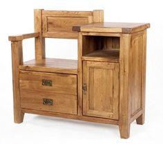 RUTLAND solid oak furniture shoe rack telephone table