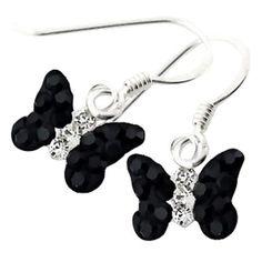 Kids' jewelry:  sterling silver, black crystal butterfly kids earrings $24.97