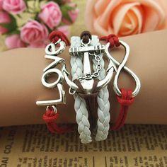 Rudder Bracelet,Charm Bracelet, Infinity Bracelet, Cross Bracelet, Love Bracelet,Colorful Flocking Leather Bracelet via Etsy