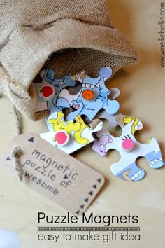 These easy to make Puzzle Magnets are a great gift idea! Wrap them up in a burlap gift bag!