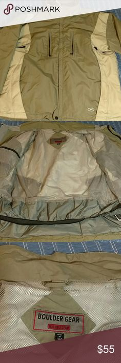 Boulder gear High tech jacket h20 heli gear NO HOOD  Like new. Full of vents, zippers, pockets. Waterproof, breathable olive and tan and grey color. Boulder gear Jackets & Coats