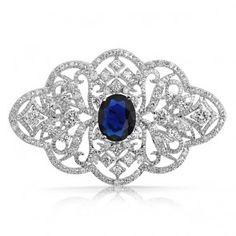 Victorian Swirl Brooch Pin Oval Blue Sapphire Color CZ