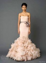 Dusty Rose Wedding Dress by Vera Wang. Unique Take on a Wedding Dress by Vera Wang. Vera Wang Bridal, Vera Wang Wedding, Bridal Collection, Dress Collection, Spring Collection, Bridal Gowns, Wedding Gowns, Wedding Cake, Dream Wedding
