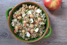 Warm Quinoa Salad with Apples, Walnuts and Chickpeas | What Would Cathy Eat?