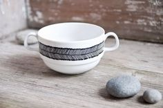 """Hand-painted vintage soup bowl """"somewhat angular"""", black and white by RoomforEmptiness on Etsy https://www.etsy.com/listing/123969731/hand-painted-vintage-soup-bowl-somewhat"""