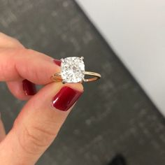 Diamond Engagement Rings Cushion cut engagement ring with whisper thin yellow gold band by Ring Concierge Engagement Solitaire, Engagement Rings Cushion, Wedding Rings Solitaire, Princess Cut Engagement Rings, Beautiful Engagement Rings, Gold Wedding Rings, Engagement Ring Cuts, Princess Wedding, Bridal Rings