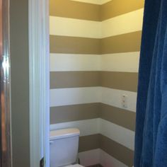 Painted white and cream stripes in the small toilet room off the master bath. Made such a difference...