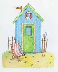 Beach Hut by Claire Keay, an original watercolour painting for sale! Beach Hut by Claire Keay, an original watercolour painting for sale! Beach Huts Art, Beach Art, Watercolor Cards, Watercolour Painting, Watercolours, Illustration, Am Meer, Beach Pictures, Art Auction