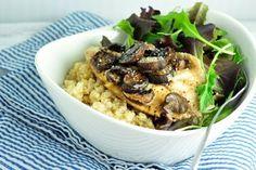 Pečená tilapia s hubami a quinoou - FitRecepty Tilapia, Tofu, Quinoa, Rice, Beef, Cooking, Recipes, Fitness, Diet
