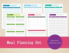 Meal Planning Set Meal Planner Shopping by MBucherConsulting Printable Shopping List, Printable Planner, Printables, Pantry Inventory, Printed Balloons, Recipe Organization, Meal Planner, Planners, I Shop
