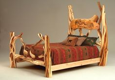 Twisted Juniper Bed with Carved Panel - Design #4 - Available in Queen & King - Customizable