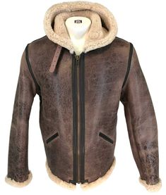 Schott NYC Mens 2B6 Brown Vintage Sheepskin B-6 Hoody Bomber Jacket
