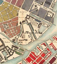 Old Map of Copenhagen Denmark 1853 , City Plan Vintage Map - product image