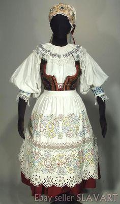 CZECH FOLK COSTUME old Bohemian kroj Blata beaded apron embroidered blouse skirt