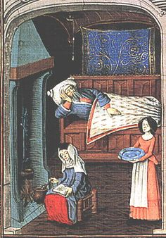 A medicinal drink being prepared at the hearth. Quart volume de histoire scolastique, J. du Ries; Flemish, 1475.