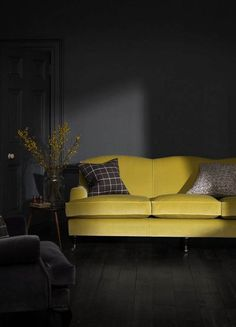 Beutiful wall paint colors graphite living room with a sunny yellow sofa for an accent Living Room Stands, Dark Living Rooms, Living Room Green, Living Room Paint, Living Room Sets, Living Room Interior, Living Room Designs, Living Room Decor, Yellow Sofa