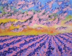 "Lavender In Provence (ORIGINAL ACRYLIC PAINTING) 8"" x 10"" by Mike Kraus - art france french flowers clouds sky sunset purple pink yom kippur"