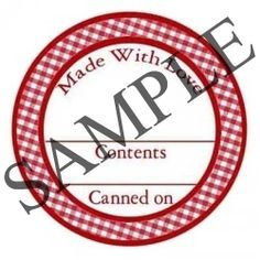 Red Gingham Circle Canning Label #L308