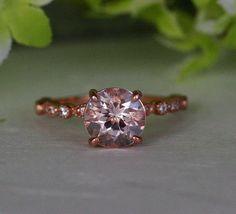 14k Rose Gold Morganite Round 8mm & Diamond Engagement by IceCage