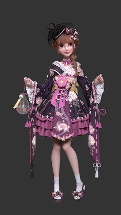 ArtStation - TP_kimono, Yuheng Jiang 3d Cartoon, Cartoon Characters, Cute Games, Japanese Outfits, 3d Animation, Art Reference, Nice Dresses, Dress Up, Kimono