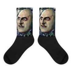 These socks are extra comfortable thanks to their cushioned bottom. The foot is black with artwork printed along the leg with crisp, bold colors that won't fade. Awesome Socks, Cool Socks, Danny Devito, Us Man, Tim Burton, Book Stuff, Artwork Prints, Bold Colors, Joker