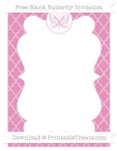 Free Pastel Bubblegum Pink Moroccan Tile  Blank Butterfly Invitation