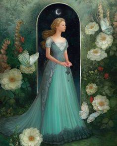 """Annie Stegg Gerard """"Halcyon Garden"""" - Haven Gallery Fantasy Women, Fantasy Art, Art Romantique, Images Esthétiques, Fairytale Art, Fantasy Illustration, Art Plastique, Belle Photo, Fairy Tales"""