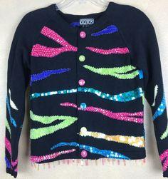 Berek by Takako Sako Beaded Multi Color Sequined Stripe Cardigan Sweater S #Berek #Cardigan