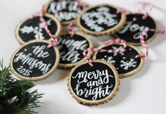 Set of six assorted christmas ornaments! Let it Snow, Merry and Bright, Joy, Jingle Bells, Holly illustration, Snowflake Illustration.