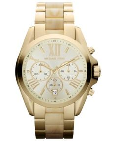 Michael Kors Watch, Women's Chronograph Bradshaw Horn and Gold Tone Stainless Steel Bracelet 43mm MK5722