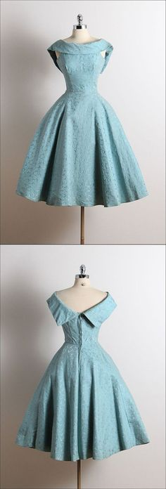 Vintage Scoop A-Line Sleeveless Knee-Length Lace Blue Homecoming Dress M3522