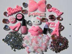 DIY K82 Big Pink Bow Hello Kitty 3D Lips Resin Kawaii Cabochon Deco Bling Kit