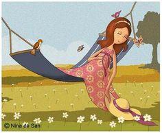 L'estiu y la migdiada / El verano y la siesta / Summer and nap Illustration Mignonne, Woman Illustration, Fernanda Young, Art Fantaisiste, Creation Photo, Art Anime, Art Graphique, Marquis, Whimsical Art
